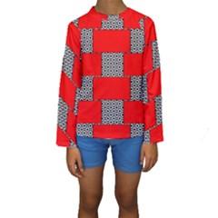 Black And White Red Patterns Kids  Long Sleeve Swimwear
