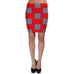 Black And White Red Patterns Bodycon Skirt