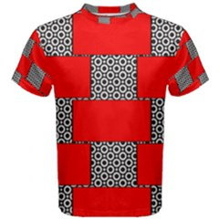 Black And White Red Patterns Men s Cotton Tee