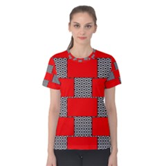 Black And White Red Patterns Women s Cotton Tee