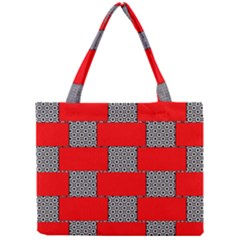 Black And White Red Patterns Mini Tote Bag