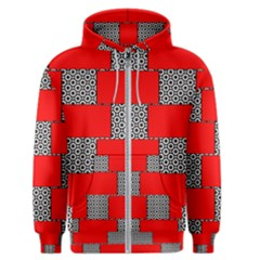 Black And White Red Patterns Men s Zipper Hoodie