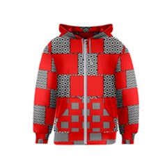 Black And White Red Patterns Kids  Zipper Hoodie