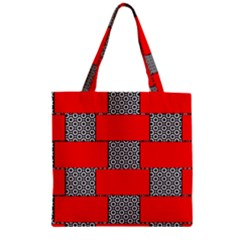 Black And White Red Patterns Zipper Grocery Tote Bag