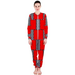 Black And White Red Patterns Onepiece Jumpsuit (ladies)