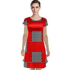 Black And White Red Patterns Cap Sleeve Nightdress