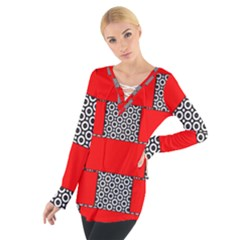Black And White Red Patterns Tie Up Tee