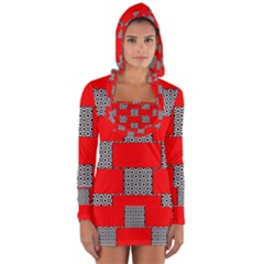 Black And White Red Patterns Long Sleeve Hooded T Shirt