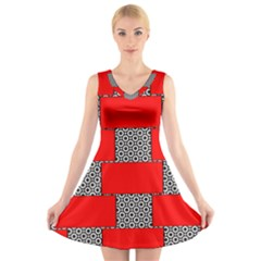 Black And White Red Patterns V Neck Sleeveless Skater Dress