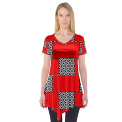 Black And White Red Patterns Short Sleeve Tunic