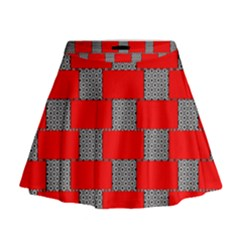 Black And White Red Patterns Mini Flare Skirt