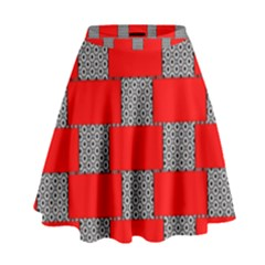 Black And White Red Patterns High Waist Skirt