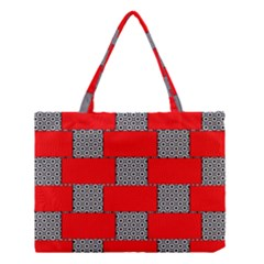 Black And White Red Patterns Medium Tote Bag