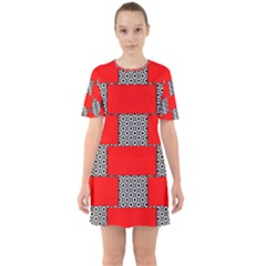 Black And White Red Patterns Sixties Short Sleeve Mini Dress