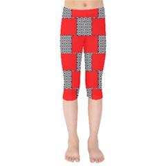 Black And White Red Patterns Kids  Capri Leggings