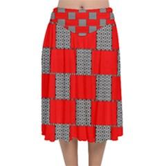 Black And White Red Patterns Velvet Flared Midi Skirt