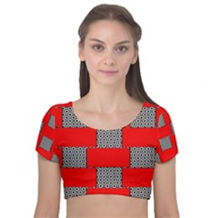 Black And White Red Patterns Velvet Short Sleeve Crop Top