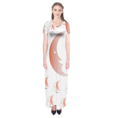 Moon Moonface Pattern Outlines Short Sleeve Maxi Dress