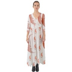 Moon Moonface Pattern Outlines Button Up Boho Maxi Dress
