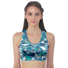 Abstract Background Blue Teal Sports Bra