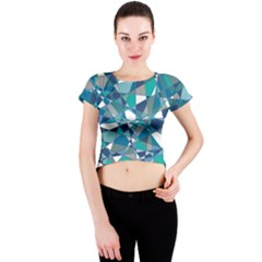 Abstract Background Blue Teal Crew Neck Crop Top