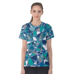 Abstract Background Blue Teal Women s Cotton Tee