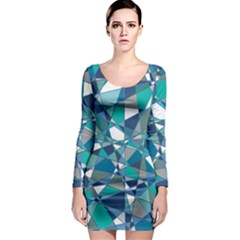 Abstract Background Blue Teal Long Sleeve Bodycon Dress