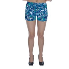 Abstract Background Blue Teal Skinny Shorts