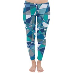 Abstract Background Blue Teal Classic Winter Leggings