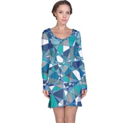 Abstract Background Blue Teal Long Sleeve Nightdress