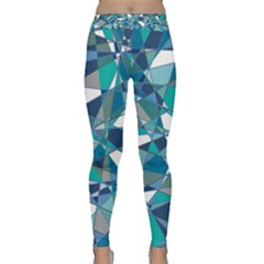 Abstract Background Blue Teal Classic Yoga Leggings