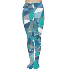 Abstract Background Blue Teal Women s Tights