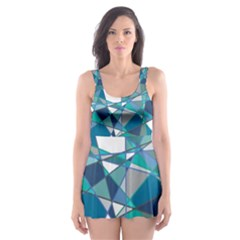 Abstract Background Blue Teal Skater Dress Swimsuit