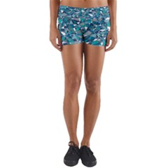 Abstract Background Blue Teal Yoga Shorts