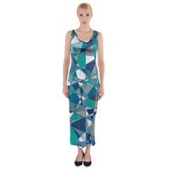 Abstract Background Blue Teal Fitted Maxi Dress
