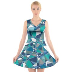 Abstract Background Blue Teal V Neck Sleeveless Skater Dress