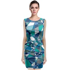 Abstract Background Blue Teal Classic Sleeveless Midi Dress