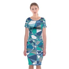Abstract Background Blue Teal Classic Short Sleeve Midi Dress