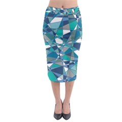 Abstract Background Blue Teal Midi Pencil Skirt