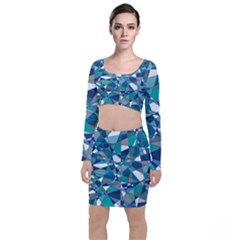 Abstract Background Blue Teal Long Sleeve Crop Top & Bodycon Skirt Set