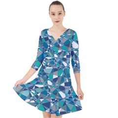 Abstract Background Blue Teal Quarter Sleeve Front Wrap Dress