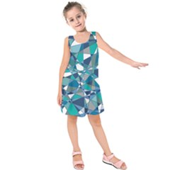 Abstract Background Blue Teal Kids  Sleeveless Dress
