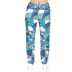 Abstract Background Blue Teal Drawstring Pants