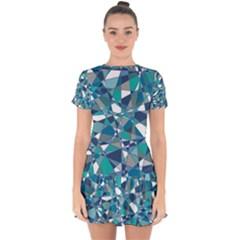 Abstract Background Blue Teal Drop Hem Mini Chiffon Dress