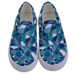 Abstract Background Blue Teal Kids  Canvas Slip Ons