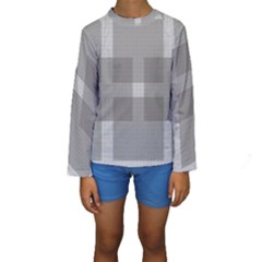 Gray Designs Transparency Square Kids  Long Sleeve Swimwear