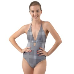 Gray Designs Transparency Square Halter Cut Out One Piece Swimsuit