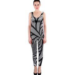 Fractal Symmetry Pattern Network Onepiece Catsuit