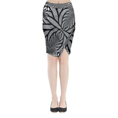 Fractal Symmetry Pattern Network Midi Wrap Pencil Skirt