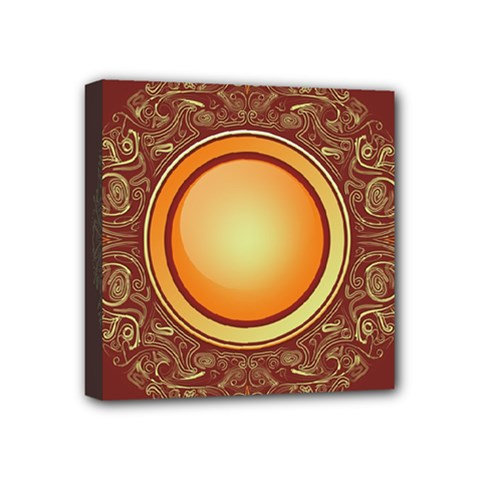 Badge Gilding Sun Red Oriental Mini Canvas 4  X 4